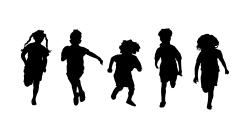 children running silhouette